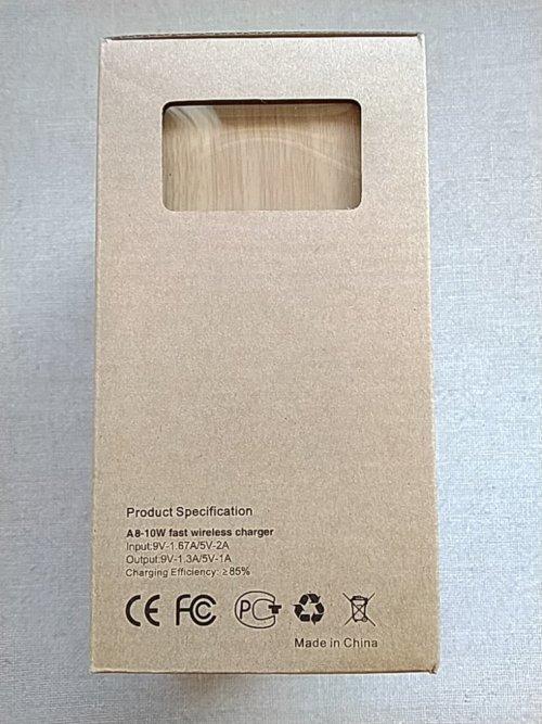 Qi対応木目調ワイヤレス充電スタンド パッケージ側面