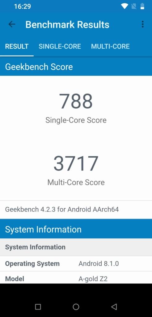 UMIDIGI Z2 Geekbench 4 CPU