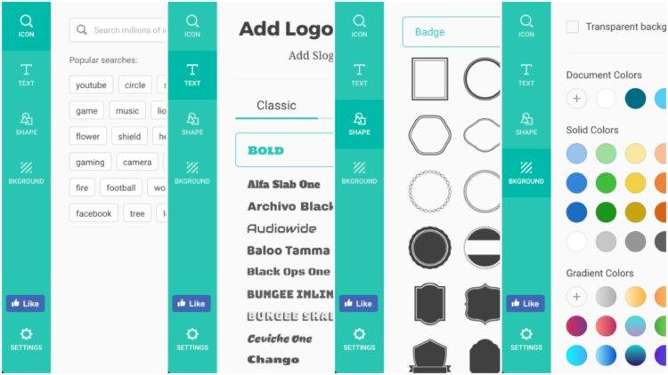 DesignEvo操作方法 ロゴ編集画面サイドバーの解説