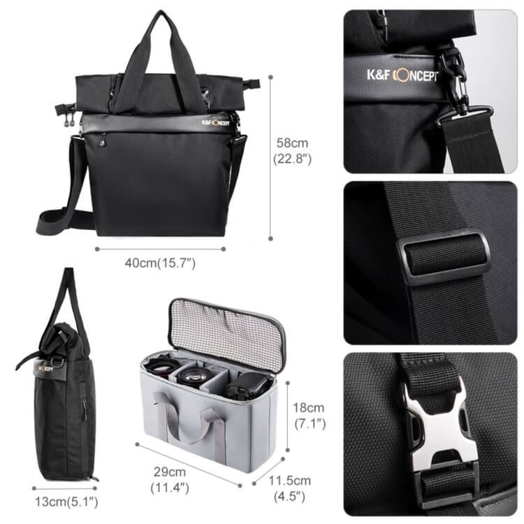 Large Shoulder Messenger Bag for DSLR Camera Photographyは細かいディティールにも配慮