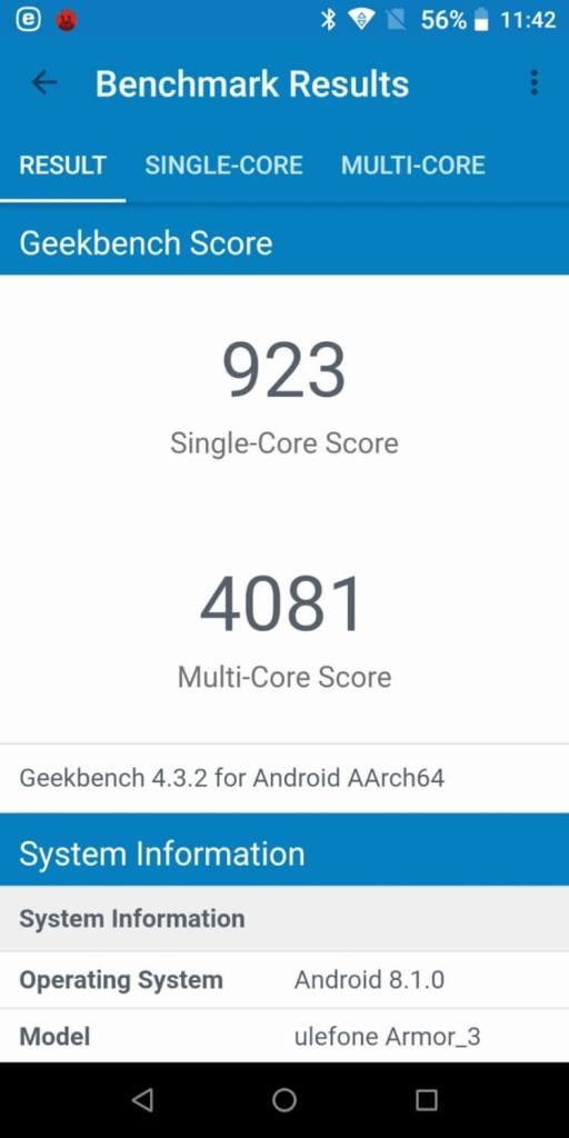 Ulefone Armor 3T Geekbench 4 CPU