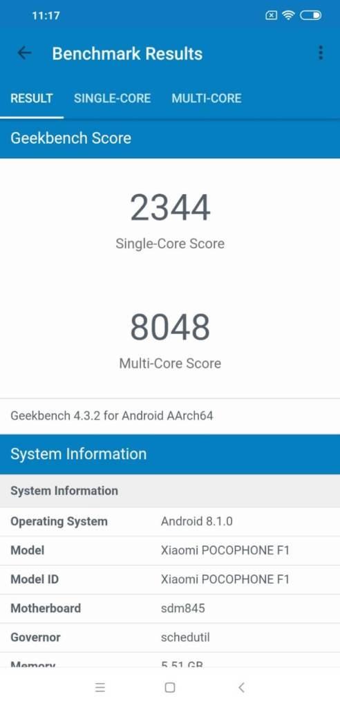 Xiaomi Pocophone F1 Geekbench 4 CPUスコア