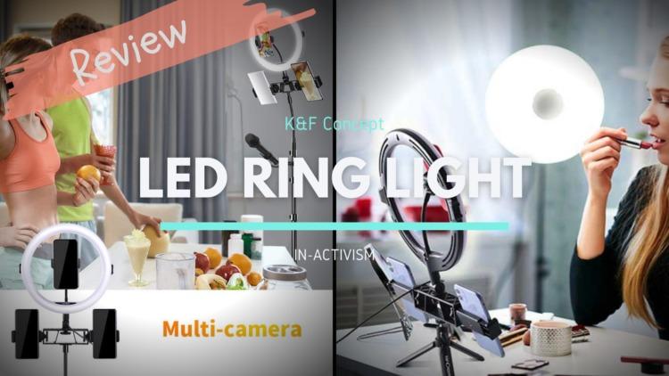 K&F Concept LED リングライト KF34.014V1 KF34.020 レビュー|アクセサリーシュー付き3デバイス同時録画可能モデル