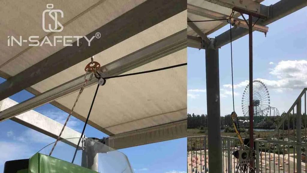 Carrucole di rinvio in una predisposizione pensata per effettuare una manovra di soccorso in un famoso parco divertimenti della Romagna: MIrabilandia.