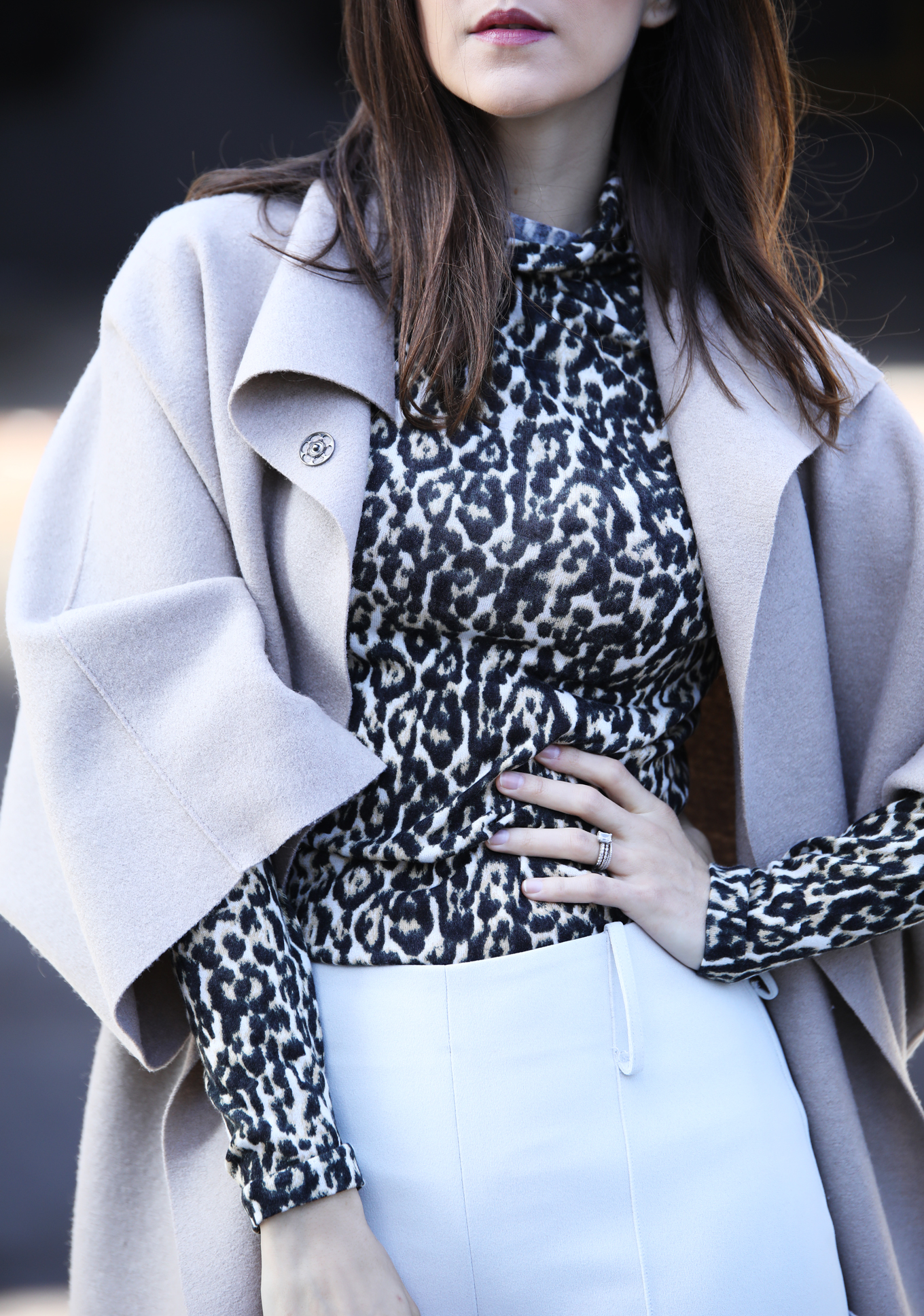 Leopard print turtleneck