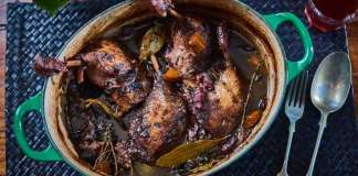 Gressingham Duck's version of the French classic coq au vin