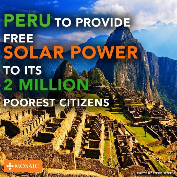 Peru To Provide Free Solar Power To 2 Million Of Its Poorest Residents By 2016