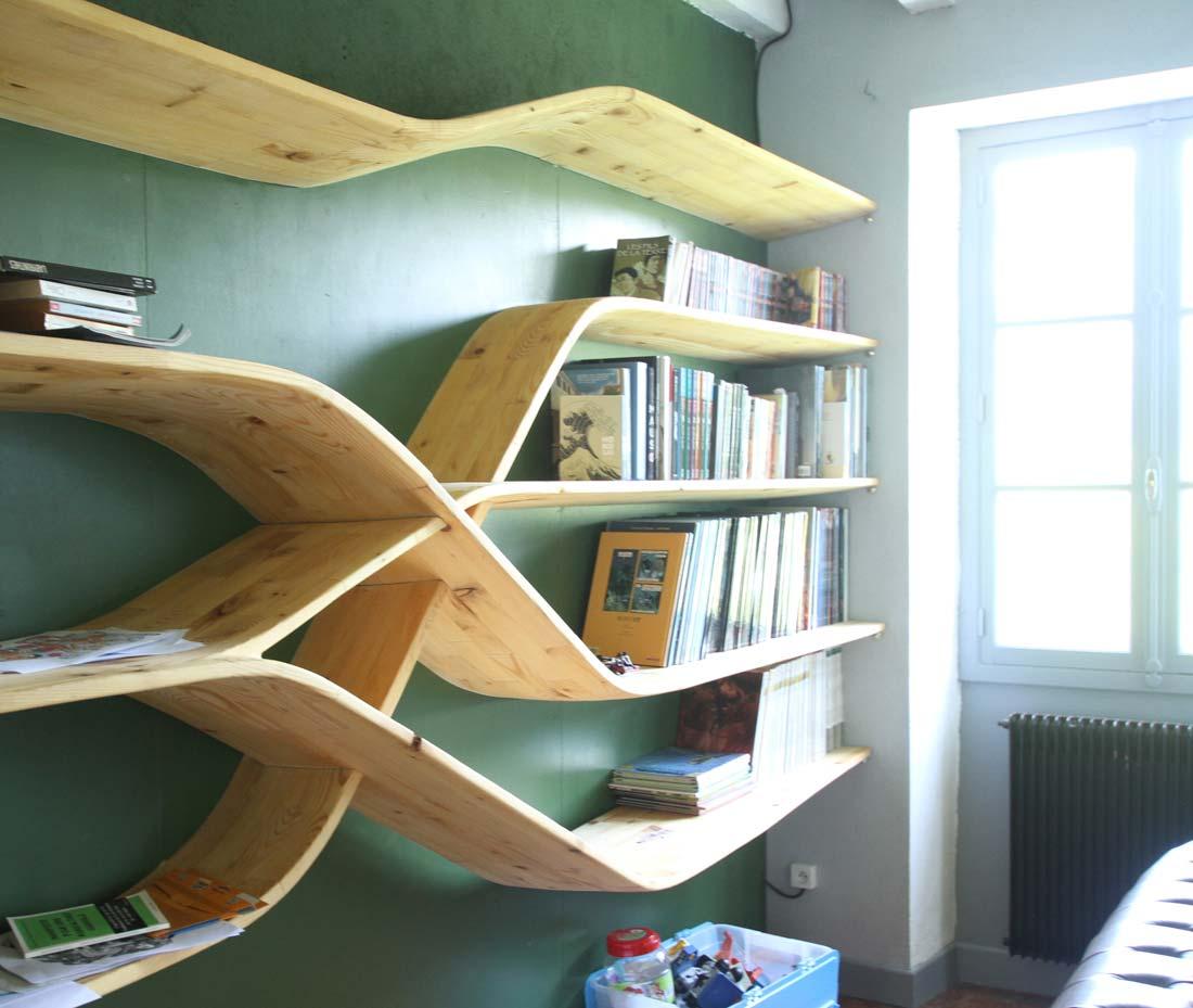 mobilier bibliotheque en bois massif