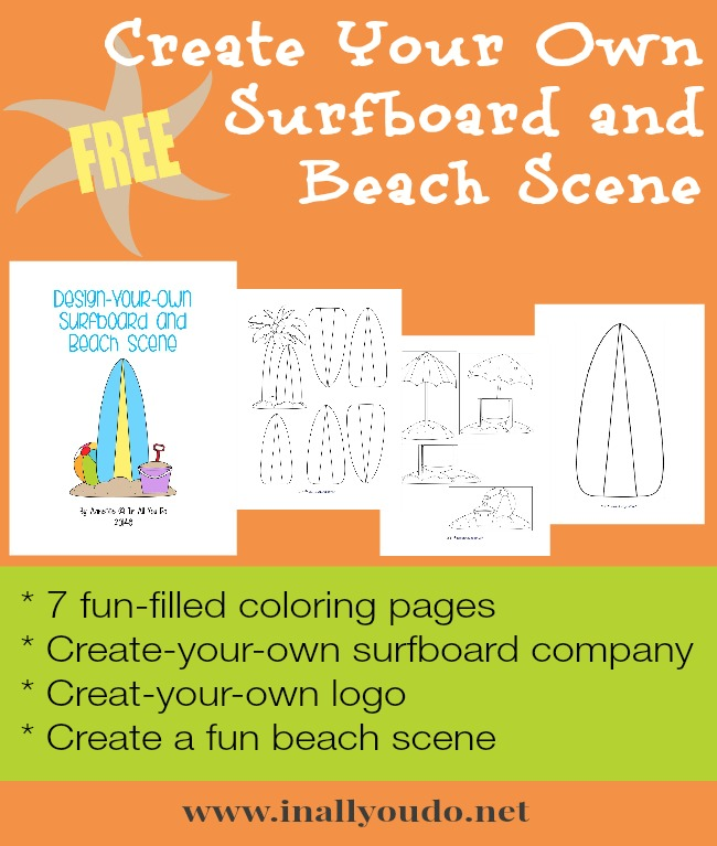 create your own surfboard free printables in all you do