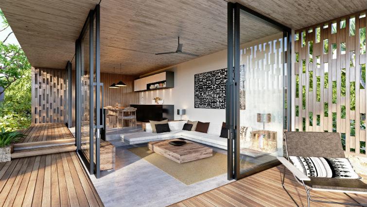 Lounge area of two-bedroom villa BASK Gili Meno