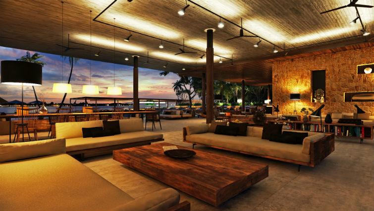 Beach Club's indoor lounge area BASK Gili Meno
