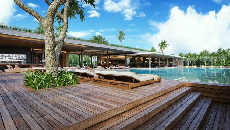 Poolside day beds at BASK Beach Club