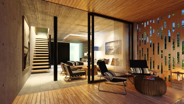 Decking and living area of loft apartments at BASK Gili Meno
