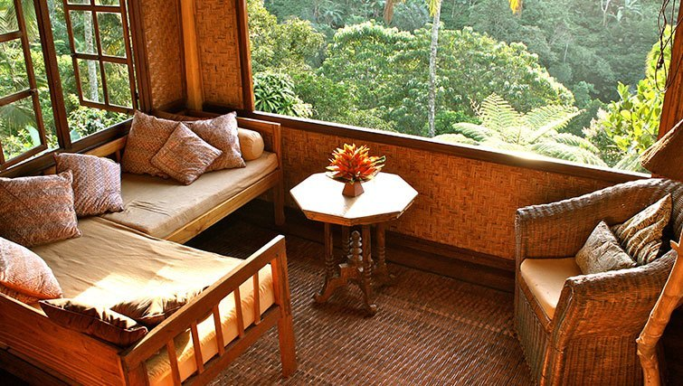 The valley of Mount Batukaru as seen from the retreat's communal dining area