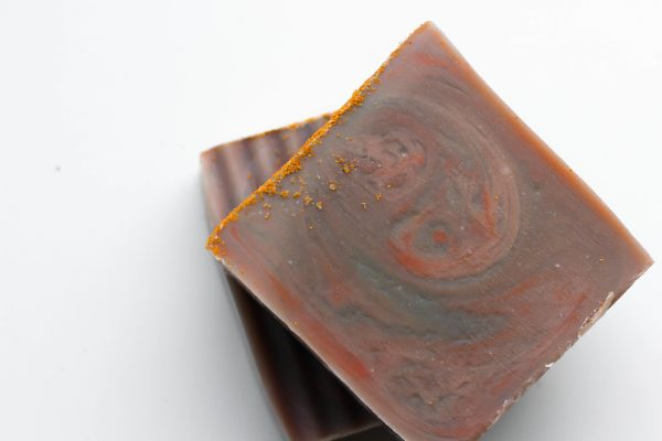 pink, orange and purple soap close-up