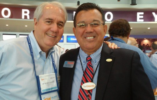 Two long-time travel and tourism industry veterans meet up at the press brunch: Mike Gallagher, co-founder and co-chairman, City Pass; and Jay Santos, vice president of travel industry sales & trade relations, Visit Orlando.