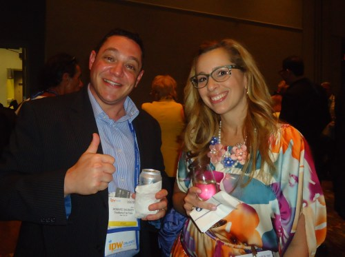 Enjoying the Media Marketplace reception are Howard Salinger, regional director/UK, TraveMedia.com, and Tania Weinkle, communications director for the Anaheim-Orange County CVB.