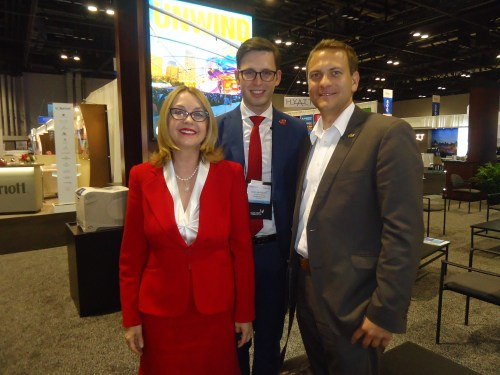 Two of the largest travel companies in the world represented here: Noel Irwin Hentschel, chairman and CEO, AmericanTours International; Nicholas Hentschel, vice president, business development, AmericanTours International; and Robin Brückner, general manager TUI Deutschland GmbH.