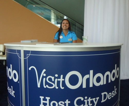 Rachel Vigil, convention marketing associate representative for Visit Orlando, handled non-stop inquiries from ipw delegates near her post at the entrance to the exhibit floor
