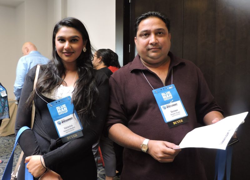 At their first RTO Summit and International Digital Day: Sanjeev Gupta (right), CEO; and Veronica Budhan, of Bethesda, Maryland-based receptive tour operator Ujala Enterprises.