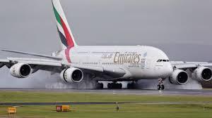 Emirates flight lands