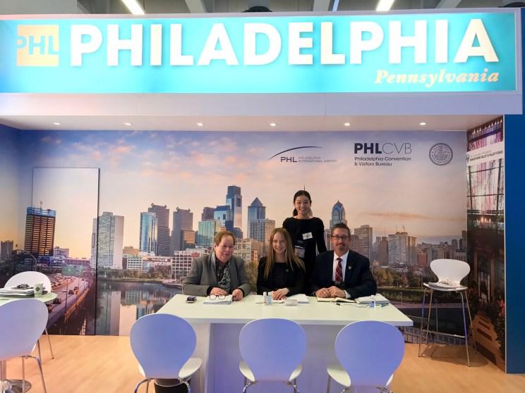 From Philadelphia CVB, (seated) Rita Hille Germany representative; Svetlana Yazoviskikh; Greg Edevane; and standing, Ann Tok