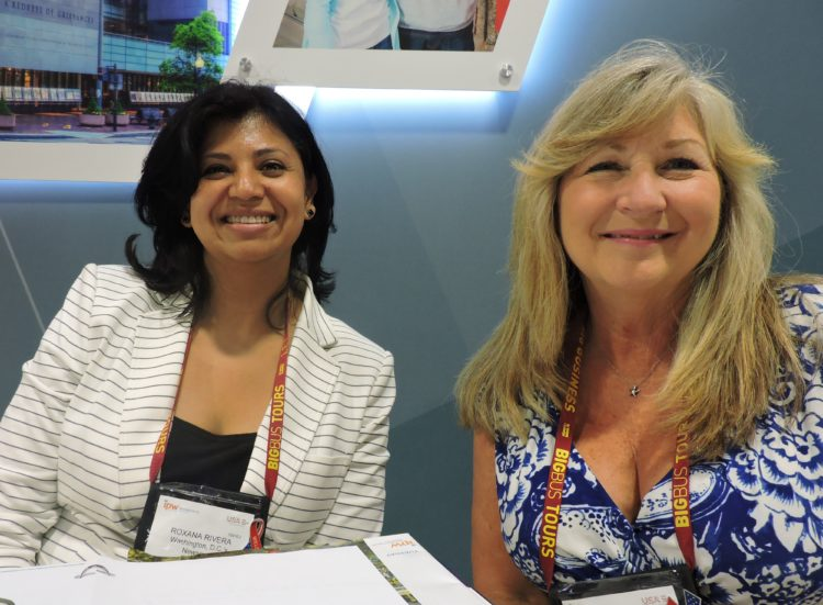 From the host city's Museum, the venue for the Sunday press brunch, are: Roxana Rivera (left), director of sales and marketing; and Linda Jeffries, group sales consultant.