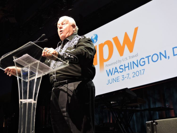 With his cowboy shirt, US Travel President and CEO Roger Dow gives a nod to one of the sartorial signatures of the Mountain West city of Denver, Colorado, host of the 2018 IPW.