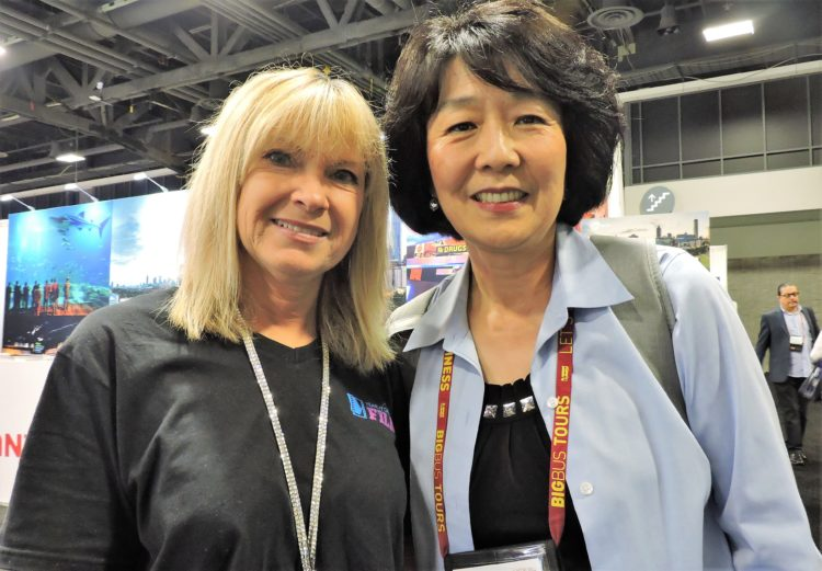 Mindy Shea (left), director of tour, travel and international sales, Visit Savannah; and Haybina Hao, senior travel writer.