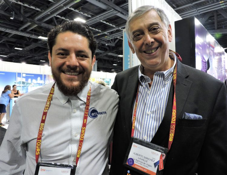 Long-time friends and business colleagues: Jesus Garcia (left), manager, international sales at Atlanta Convention & Visitors Bureau; and Alberto Sanchez, travel trade journalist from Buenos Aires, who has attended every IPW since 1986.