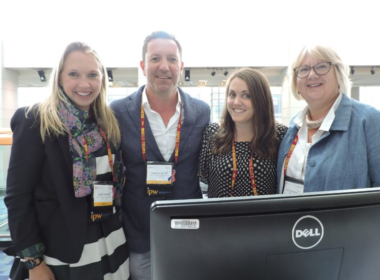 (Left to right): Jamie Morris, manager, media relations, US Travel; Markus Elter, who represents US Travel in Germany; Jo Thomas, US Travel's public relations representative in the UK; and Kate Burgess-Craddy, a public relations executive based in the UK.