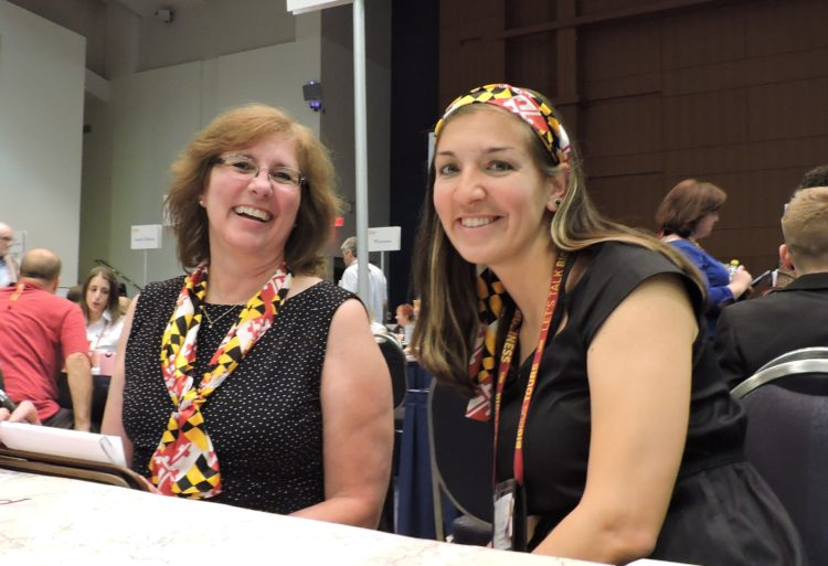From the Maryland Department of Commerce: Connie Yingling (left), communications specialist, tourism development; and Leslie Troy, public relations manager.