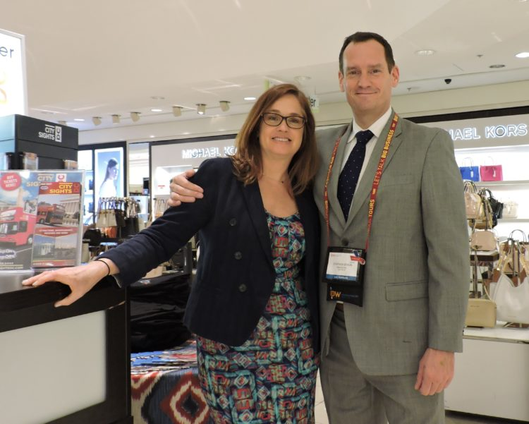 Nancy Gallagher (left), manager-tourism partnerships, Macy's; and Stephen Braun, manager, tourism marketing, Macy's.