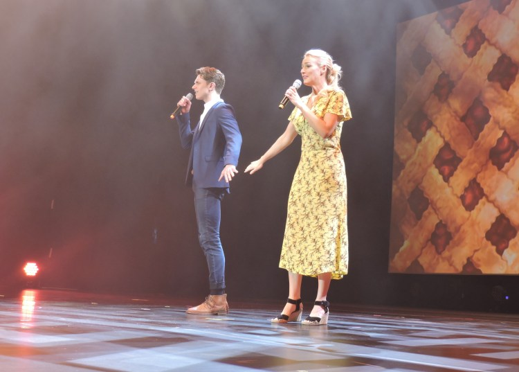 "Henry Gottfried and Betsy Wolfe, principals in the new Broadway hit musical, ""Waitress,"" sing a number from the show."