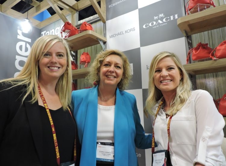 At the Tanger Outlets booth (left to right): Carrier Egerton, tenant services manager, tourism and special events coordinator (Bluffton, S.C.); Donna Danielson, general manager (Atlantic City); and Jessica Reeves, tourism manager, regional marketing director (Glendale, Ariz.).