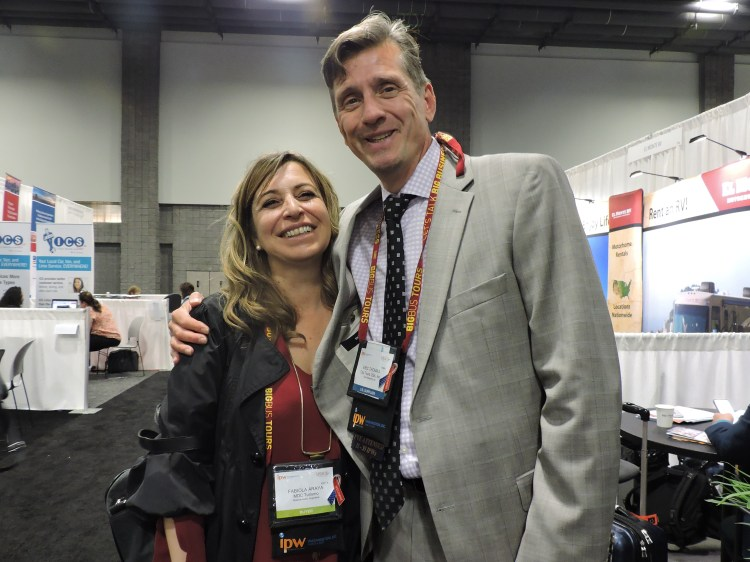 Fabiola I. Araya, managing director, MDC Turismo Chile, with Eric Thomas, who joined City Tours USA—the company headed by his brother, Ray—for IPW 2017.