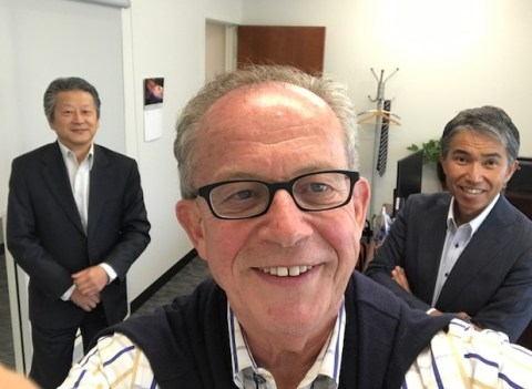 JTB USA's Katsuhisa Seki (left), general manager; and Shin Fujimoto, vice president, destination management division, get together for selfie with Jake Steinman, NAJ's founder and CEO