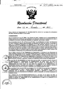 Resolución de Categorización III-2 Nº 1211/2009 -06-DSS-DISA V