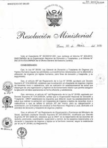 Resolución de Trasplante Cardiaco Nº 126-2010/MINSA
