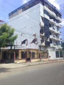 Damage to large building due to earthquake