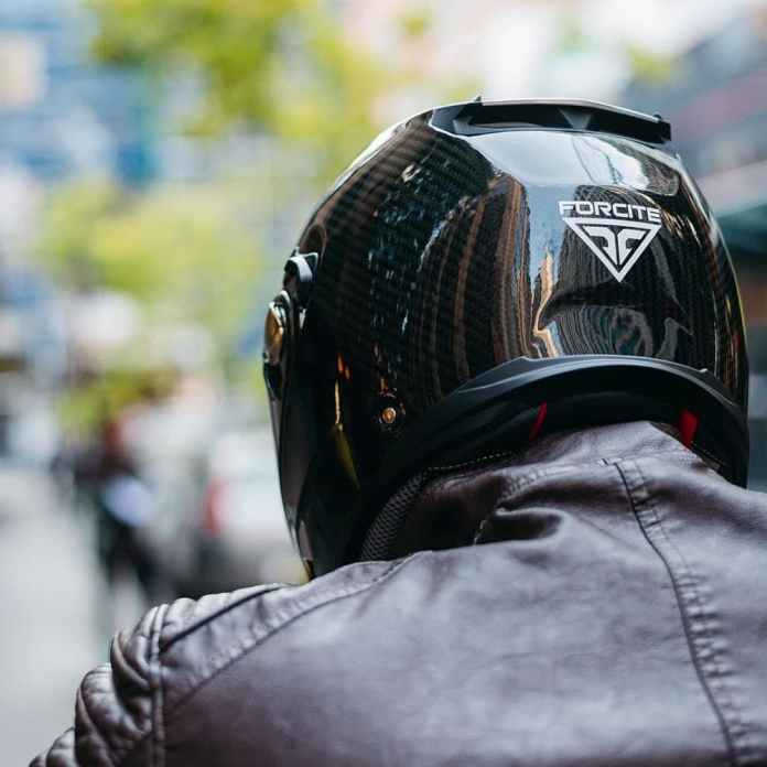 Forcite smart motorcycle helmet back view
