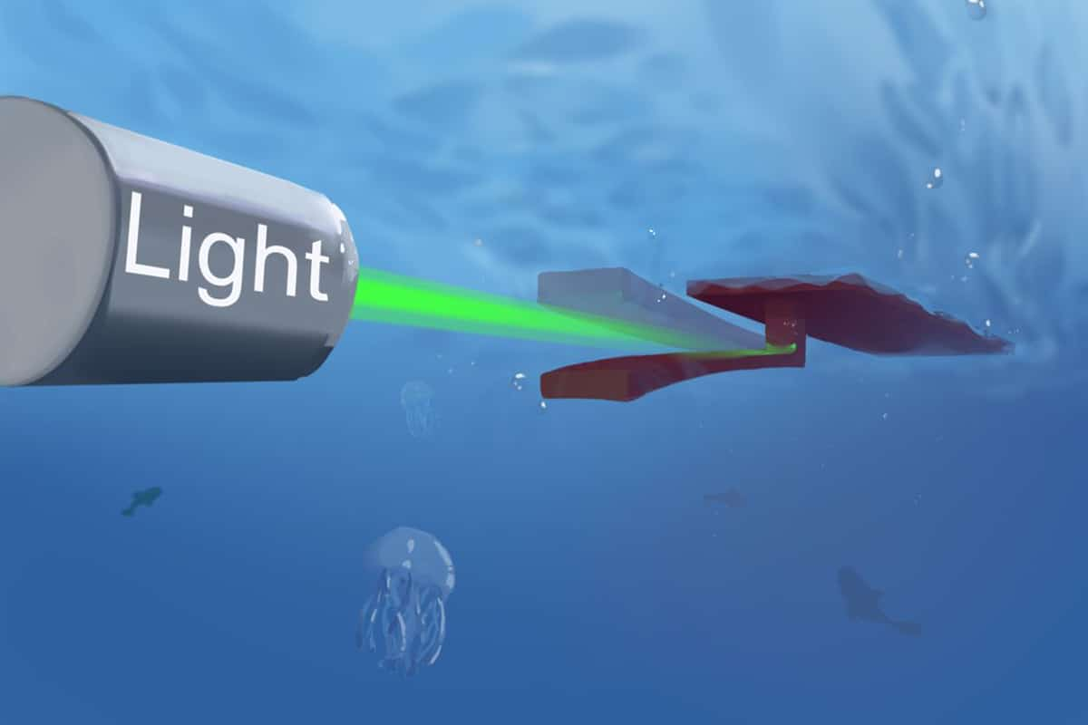 OsciBot, a battery-free swimming robot powered by constant light