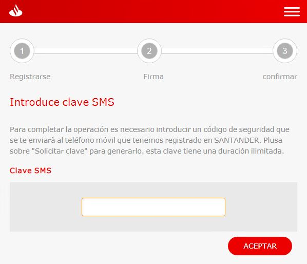 Solicitud clave SMS