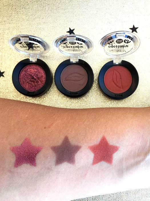 Swatches ombretti Purobio Cosmetics
