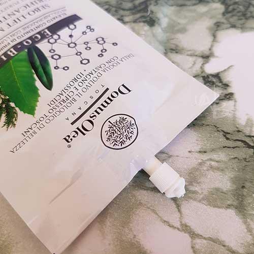Modalità d'uso packaging maschera purificante restitutiva Domus Olea Toscana