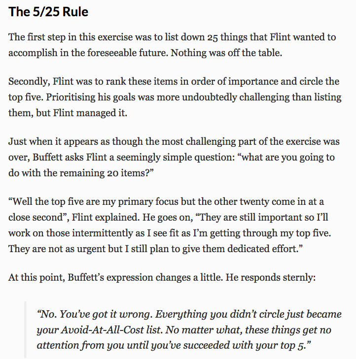 Warren Buffett's 5/25 Rule