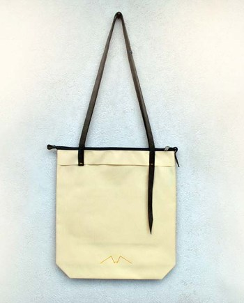Zipper Tote beige and gray - InconnuLAB