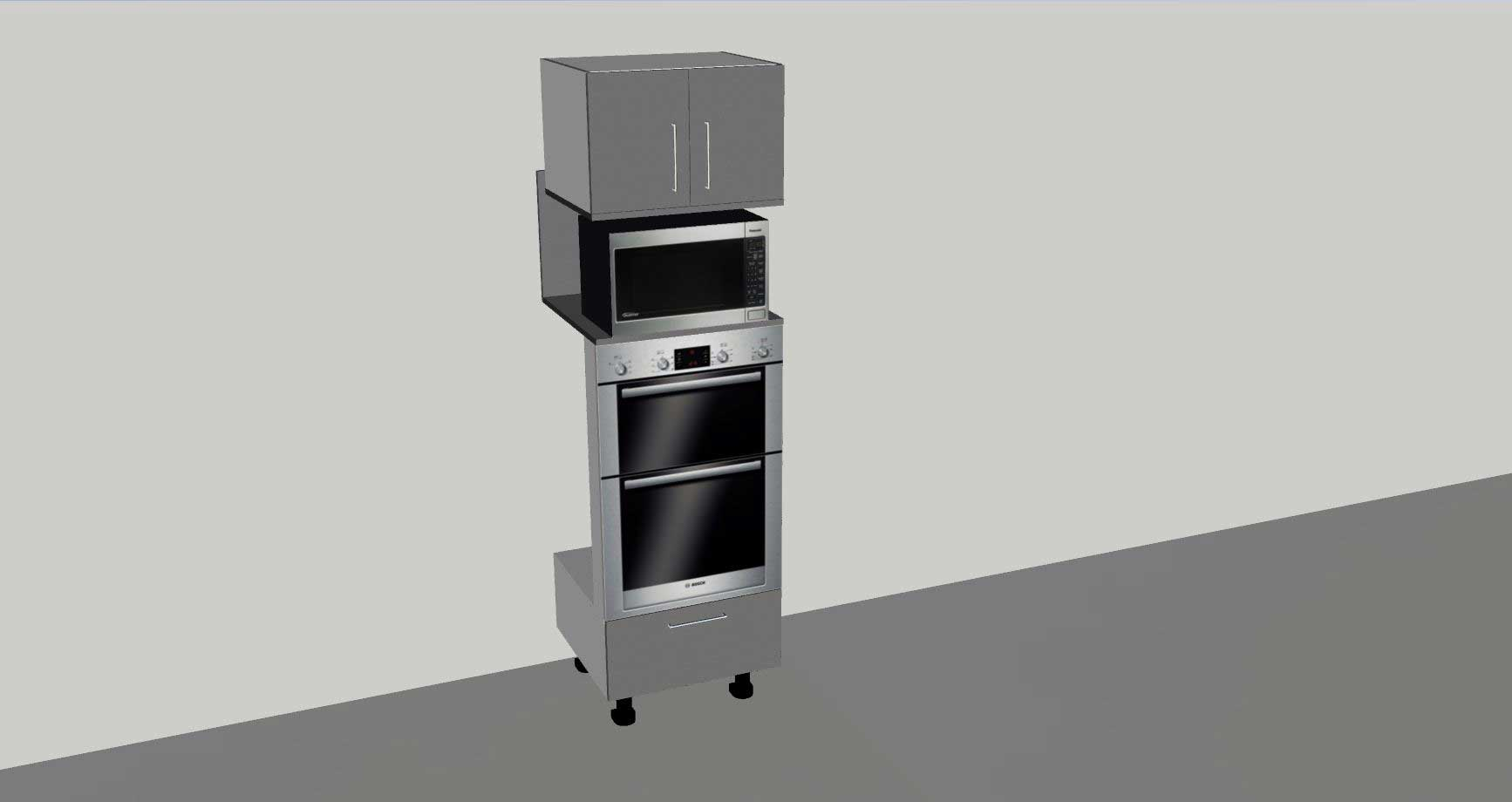 tall double oven tower with microwave space 2 door