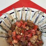 Caponata pomodori datterini e alici marinate