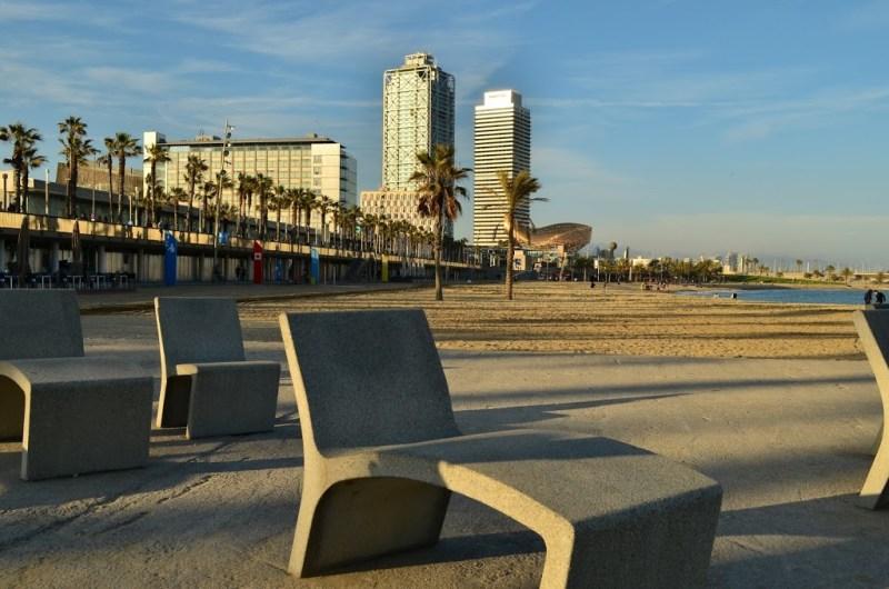 Cadeiras de praia em Barceloneta